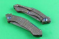Wholesale finish designer - High End New designer D2 steel Flipper folding blade knife 59-60HRC Stone wash finish blade titanium handle IKBS system frame lock