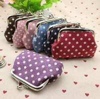 Wholesale Women Birthday Purse - Dot fabric buckle purse coin purse Money Bag Coin wallet birthday gift Lady Pattern Model Classic coin Package Free DHL