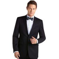 Wholesale Jacket Anzug - Wholesale-2016 new arrival terno Notch Lapel herren anzug One Button Black Handsome Groom Suits Wedding Suits (jacket + Pants)men suit