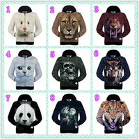Wholesale New Hoodie Long Sleeve Leopard - Hot Sale Winter Autumn New 3D Animal Hamster Lion Grey Cat Leopard Headset Wolf Printed Men's Long Sleeve Cotton Zip Up Hoodies Sweatshirt