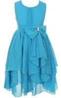 Wholesale Turquoise Rhinestones Color Dress - Little Girls Yoryu Chiffon Rhinestone Waist Bow Flowers Girls Dresses Turquoise