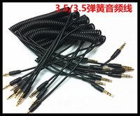 Wholesale Headphones Speak - 3.5mm Male to Male M M Plug Jack Stereo Headphone Audio Coiled Fluoro AUX Extension Cable Replacement Spring for Car Speak iPhone