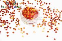 parıltılı yaprak toptan satış-Tırnak Sanat veya DIY dekorasyon 1pack = 50g için Toptan-SFYJ714-77 4mm Boyut Şaşırtıcı Glitter Payetler Akçaağaç yaprağı şeklindeki pullar