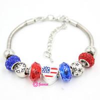 braceletes de grânulos dos eua venda por atacado-Chegada nova Atacado DIY Pulseira de Jóias Estilo Patriótico Estrela Contas Em Forma de Coração EUA Pulseiras Da Bandeira Americana para as mulheres