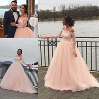 Wholesale Cheap Sexy Winter Dresses - 2017 Fall Winter Country Vintage Lace Applique Wedding Dresses Long Sleeve Bateau Backless Cheap Sexy Plus Size Bridal Gown Wedding Dress