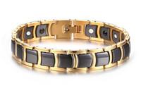 cadenas de germanio al por mayor-Cerámica negra Bio Magnética Pulseras de germanio Salud de la moda para hombre Accesorio de los hombres Cadena de la mano Eslabones de color dorado Joyería de acero inoxidable B847S