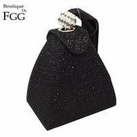 Wholesale Diamonds Hot Fix - Wholesale-Women Wedding Party Fashion Mini Black Gliter Pyramid Wristlets Handbag Clutches Hot-Fixed Crystal Diamond Evening Clutch Bags