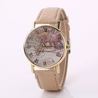 Wholesale World Map Wrist Watch - Stylish Fashion Designer World Map Watch Fashion Leather Alloy Man Women Casual Analog Quartz Wrist Watches Free shipping