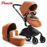 Wholesale Stroller Shock Absorbers - New arrival pouch baby stroller PU leather high-view folding two-way baby pushchair with spring shock absorbers children trolley baby by