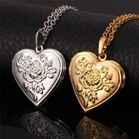 Wholesale Tin Rose Jewelry Box - Locket Rose Flower Jewelry Valentines Gift For Women 18K Real Gold Plated Vintage Photo Box Romantic Heart Pendant Necklace P326