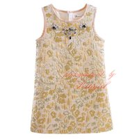 Wholesale golden flowers decorations for sale - Group buy Pettigirl Summer And Spring Tank Golden Dresses For Girls Crystals Decoration Flowers Pattern Spun Gold Wear Baby Kids Clothes GD90325 F
