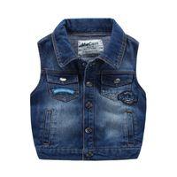 Wholesale Korea Fashion Jacket Winter - new arrival Kids boys vest wholesale washed Denim waistcoats for boy Applique Fall Winter Pockets Vintage Jackets tops Fashion korea