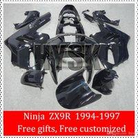 Wholesale 1996 Zx9r Custom Fairings - Press ABS Fairing Kits Of Kawasaki Ninja 1994 1995 1996 1997 ZX9R ZX 9R 94 95 96 97 ZX-9R Total Black Free Custom Paint Motorbike Parts