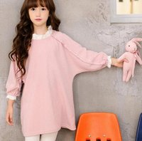 Wholesale Wholesale Beaded Top Clothes - Autumn Girls Dress Kids Ruffles Collar Beaded 3 4 Sleeve Long Tops Loose Casual Dress Girl Princess Dresses Children Clothing Pink Navy 2548