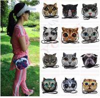 Wholesale Wholesale Printed Fabric Bag - DHL Shipping 3D Cat Bag Cartoon Messenger Bag fashion 3D print animal face Handbag for women Crossbody Bag 3D Cat Mini Crossbody Bags
