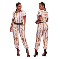 Wholesale Vintage Tracksuits Women - New Summer Crop Top Skirt Set Dashiki Print Rompes Women Two Piece Set African Vintage Bodycon Sexy Jumpsuit Casual Tracksuit