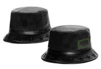 Wholesale Womens Cloche - 2016 New Black Leather Bucket Hats For Men And Women Outdoor Street Summer Sun Hat Mens Womens Fishing Cap Headwear Cheap