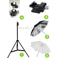 Freeshipping 5in1 Studio fotografico Kit Light Stand Treppiede + Staffa girevole Flash + 33 pollici Ombrello morbido e riflettente + adattatore scarpa fredda