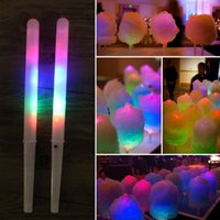 Wholesale toy colorful led light sticks - Colorful LED Cotton Candy Sticks Glow Light up Floss Stick for Christmas Birthday Party Prop Flashing Sticks