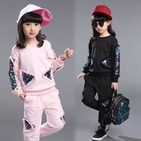 Wholesale Zebra Costumes For Girls - Children's clothes girls autumn new sports suit 2018 child sequins embroidery twinset leisure kids suit set for girls costume