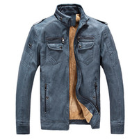 Wholesale mens thick lined winter coat - Wholesale- Brand New Men Leather Suede Fashion Thick Fleece Lined Mens Winter Leather Jackets Male Jacet Coat Jaqueta de Couro Masculino