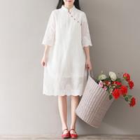 Wholesale Dress Improvement - Summer Sen Woman Small Fresh Literature Ancient Ways Embroidery Easy White Dress Chiffon Improvement Cheongsam Skirt Long Fund 1626353320
