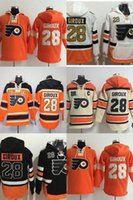 Wholesale Mens Beige Hoodie - Hot Sale Mens Philadelphia Flyers 28 Claude Giroux Orange White Beige Black Best Quality Cheap Full Embroidery Logos Ice Hockey Hoodies