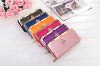 Wholesale Diamond Pillow - Ms Popular and Hot Candy Color Golden Crown Wallet Multi-purpose Hand Carry Hand Bag Single Zipper Bag