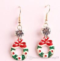 Wholesale Cheap Christmas Wreaths - Christmas XMAS Wreath Zircon Bling For Women Girls Fashion Charm design earings Dangle Chandelier cheap china Jewellry