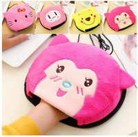Wholesale Laptop Hand Warmer - Wholesale- Warm Hand USB heating mouse pad thick cartoon plush cloth warm mouse pads Bracers wristbands mouse set Laptop office desk