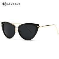 Wholesale Eye Glasses Temple - Wholesale-AEVOGUE Sunglasses Women Copper Temple Cat Eye Sun Glasses Original Brand Designer With Box UV400 AE0269