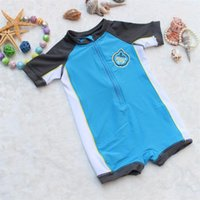 Wholesale Sun Suits Kids - 3-24M Infant Baby Boys Brand Rash Guards Kids Sun Protection Surfing Cloth for Children Beach Wear Bathing Suit for kids