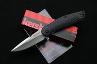Wholesale Fiberglass Knives - OEM Kershaw 1970 flipper folding knife 8Cr13Mov blade nylon fiberglass + steel handle camping knife hunting fruit knife EDC tool