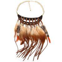 Wholesale Necklace Statement Newest - 2016 Newest Design Multi-ethnic Elegant Fashion Necklace Choker Flower Feather Statement Necklaces & Pendants Women Fine Jewelry WY1617