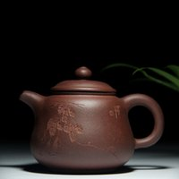 Wholesale Zisha Yixing Teapots - Handmade Chinese Yixing Clay Teapot China Yixing Zisha Purple Clay Ceramic Tea Pot Curved Handwriting Kung Fu Tea Set