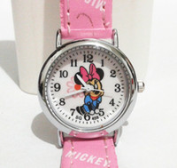 Wholesale Cheap Minnie Mouse - Minnie Mouse Cartoon Watches Children Watches Quartz Wrist Watch Fashion for Girls Kids Students Cute Leather Sports Analog Round cheap