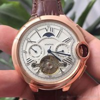 Wholesale Moon Watch Luxury - New AAA Quality all subdials work men watches luxury watch Top Brand clock TOURBILLON mechanical automatic wristwatches for man rejoles gift