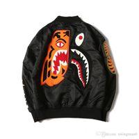 Wholesale Service Camps - Tide Brand A APE Winter Sweatshirts Tiger Head Joint Embroidery Shark MA1 Flight Male Baseball Service US Air Force Pilot Jacket ape