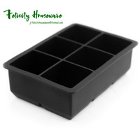 Wholesale Wholesale Large Tub - DIY Creative Large Ice Cube Tray 6 Perfect Square Mold Square Shape Silicone Ice Tray Fruit Ice Cube Maker Bar Kitchen Accessories