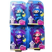 Wholesale Wholesale Hanger - 130mm Colorful Finger Monkey Fingerlings Interactive Baby Monkey Sound Finger Motion Hanger Toy Gift Eyes Not Blink