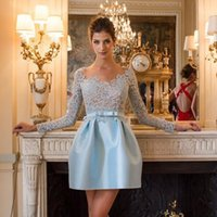 Wholesale Fit Ball Mini - A-Line Fit & Flare Long Lace Sleeves Short   Mini Satin Cocktail Party Homecoming Dress with Sash