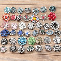 Wholesale Rhinestone Beads Fit Bracelet - Mixed 18mm Rhinestone Crystal Snap Buttons Beads Fit DIY Bracelets Necklaces For Women Men Jewelry Accessories TZ703