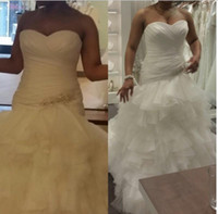 Wholesale Ruched Mermaid Wedding Gowns - Plus SIze Mermaid Organza Wedding Dresses Ruched Ruffles Layered Garden Bridal Dresses lace Up Crystal Wedding Gowns 2016