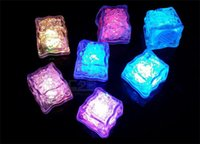 Wholesale Artificial Ice - 50pcs Aoto colors Mini Romantic Luminous Cube LED Artificial Ice Cube Flash LED Light Wedding Christmas Decoration Party D905