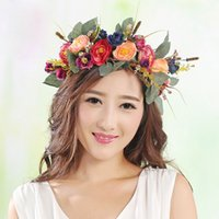 Wholesale woman elegant hair accessories - 2017 New Elegant Rose Flower Crown for Women and Girl Kids Head Wreath Bridal headpiece Hair Accessories Wedding Party High Quality