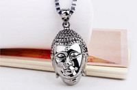 Wholesale Asian Statues - China statue buddha pendant necklace for mens religious stainless steel man's polishing jewelry high quality gift