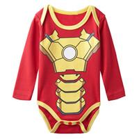 Wholesale Iron Man Baby - Baby Boys' Iron Man Funny Costume Bodysuit Infant Long Sleeve Onesie