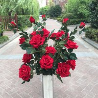 Wholesale Decor For Displays - Silk Flowers For a Wedding Roses Display plastic Ribbon Pompom Scrapbooking Home Decor Artificial Flowers For Decoration QQC304