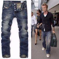 Wholesale Classic Men S Fashion - High Quanlity 2017 men famous brand blue denim designer high quality ripped jeans for men classic retro David Beckham same paragraph