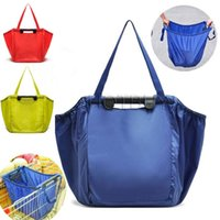 Wholesale Wholesale Travel Trolley - Shopping Suppermarket Foldable Grocery Trolley Bag Large Deep Lightweight Carry Easy Reusable Travel Bag That Clips To Cart 3 Colors #4063